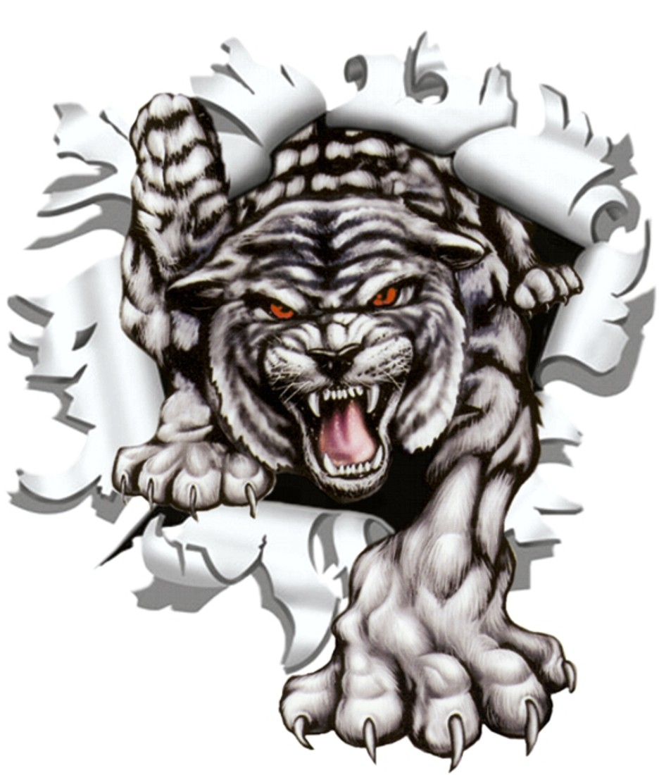 Sticker ripped torn bullet hole 90 mm motive tiger – Bild 1