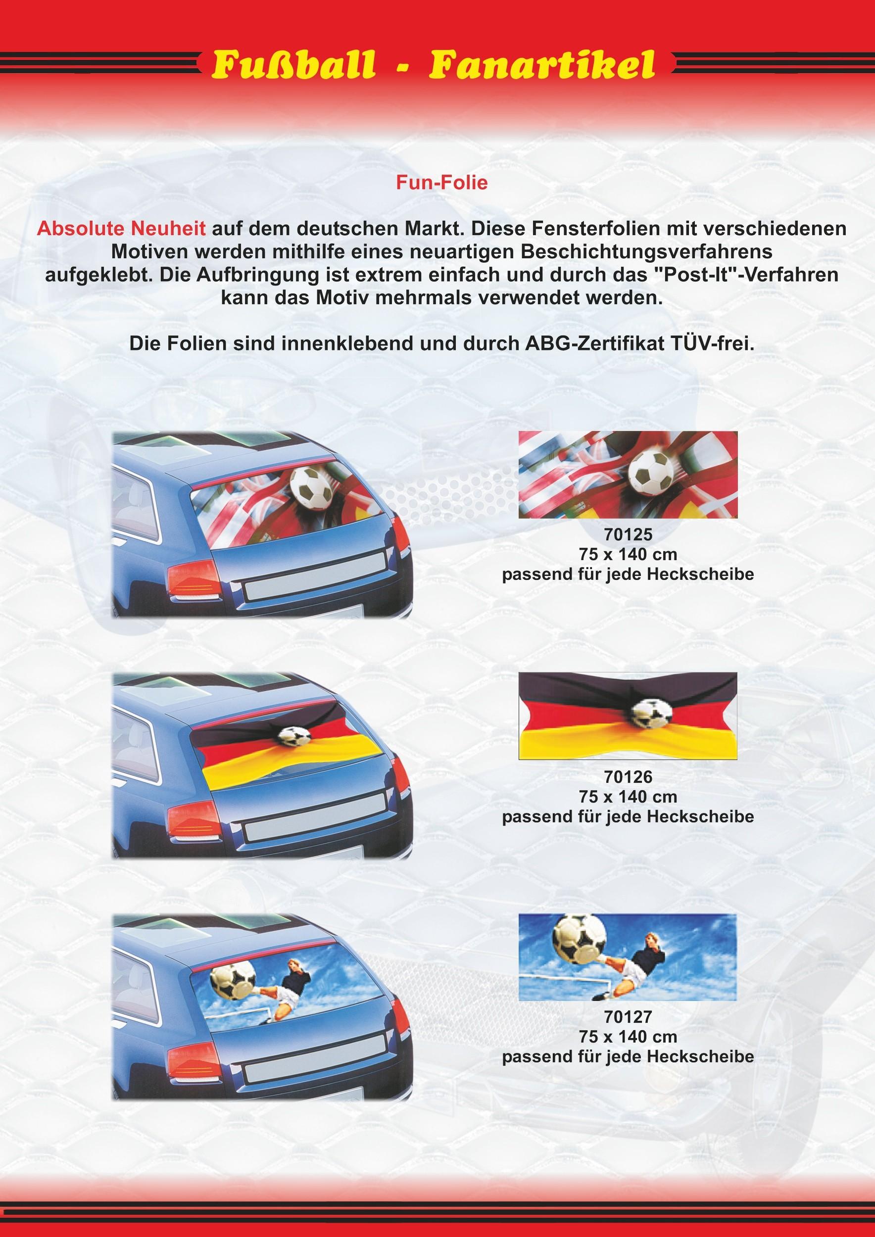 Tönungsfolie Funfolie Fußball Flaggen 75 x 140 cm Deutschland Fanartikel Olympia – Bild 3