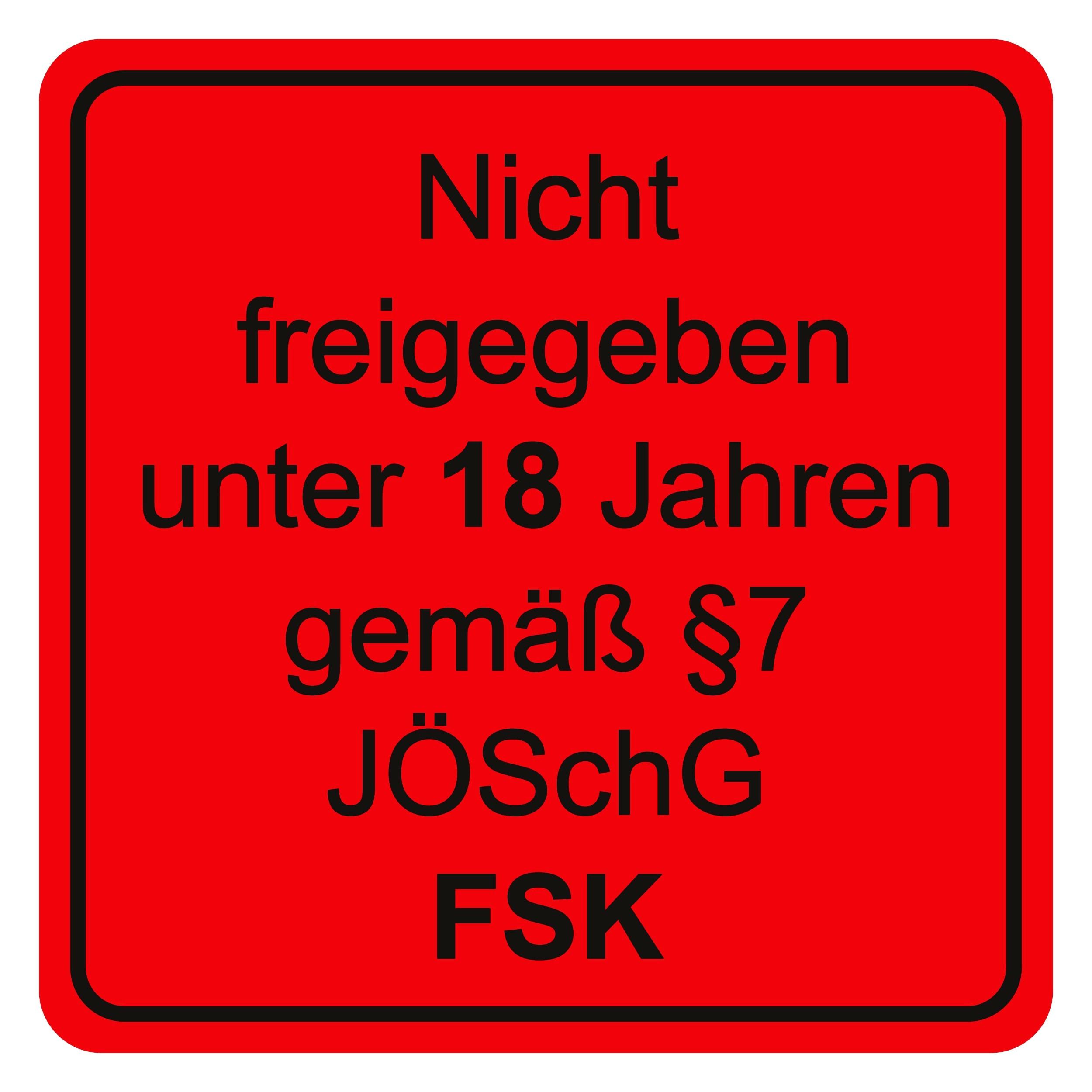 Aufkleber Nicht freigegeben unter 18 Jahren ... rot 65 x 65 mm – Bild 1