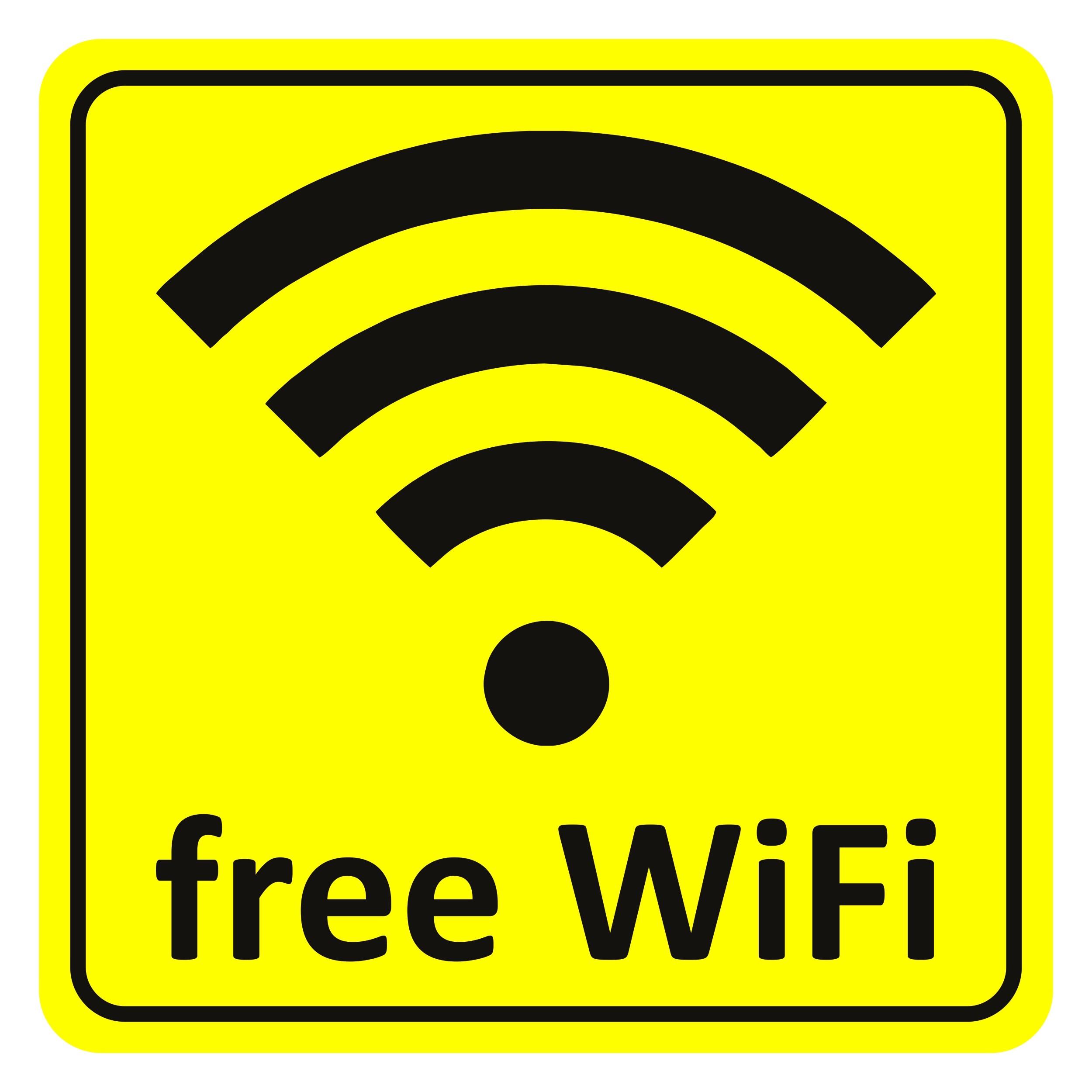 Aufkleber free WiFi gelb 65 x 65 mm – Bild 1