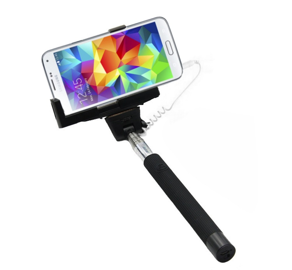 SOLUTIONS2GO Selfie-Stick für Smartphones Universal schwarz – Bild 1