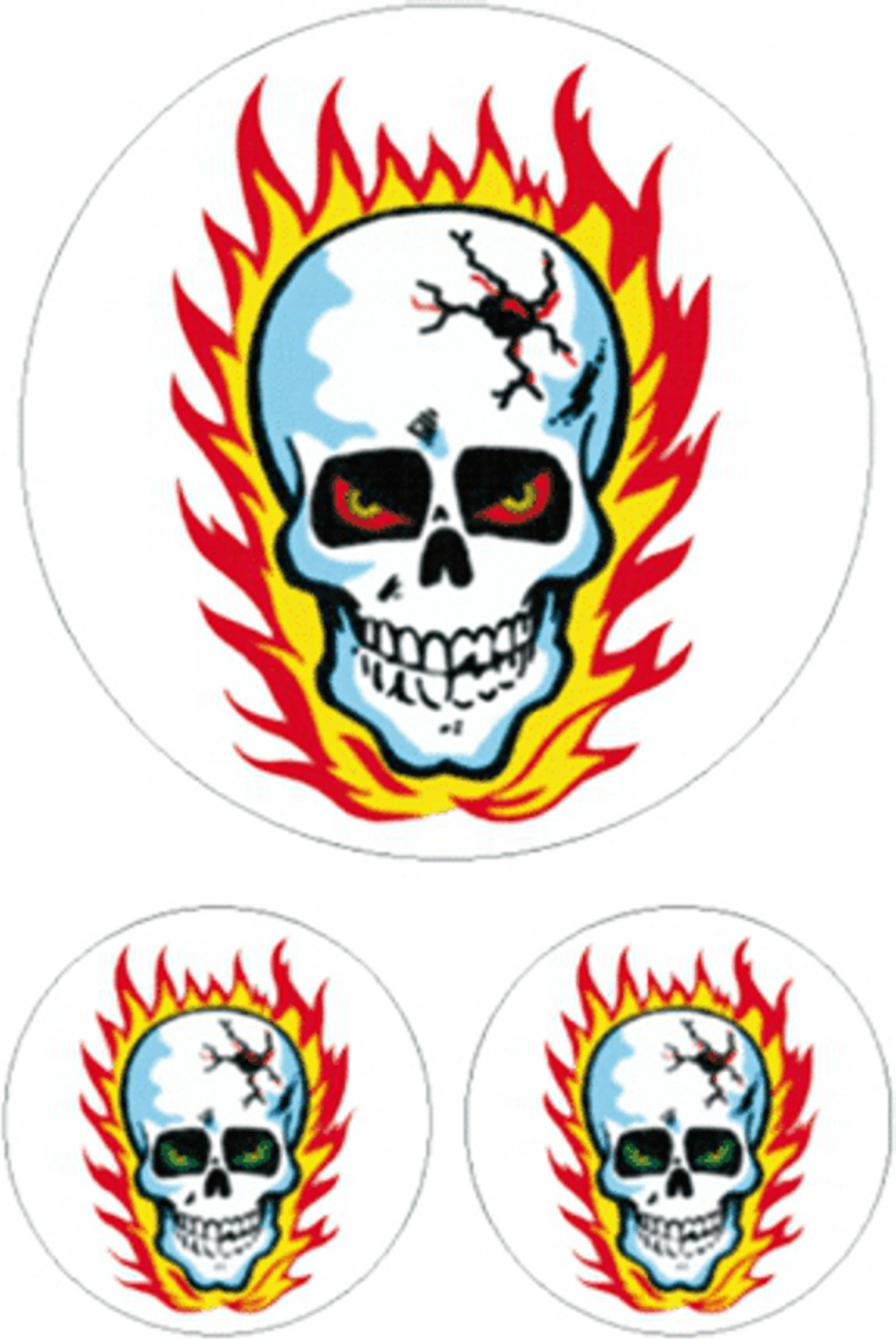 Sticker Skull with flames 3 pieces 160 x 120 mm – Bild 1