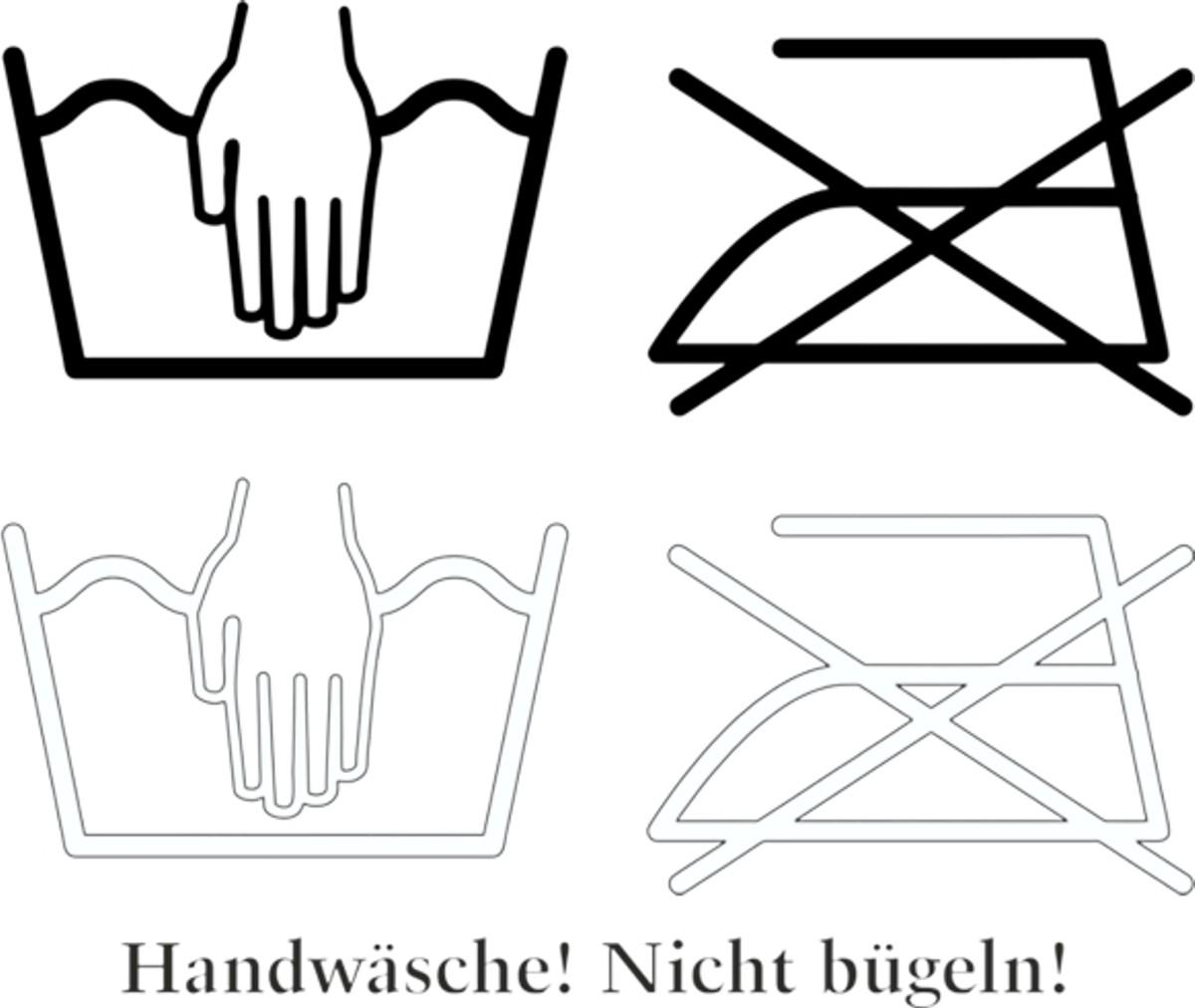 Autocollant Lavage à main! Ne repasser pas! 4 pièces 115 x 150 mm – Bild 1