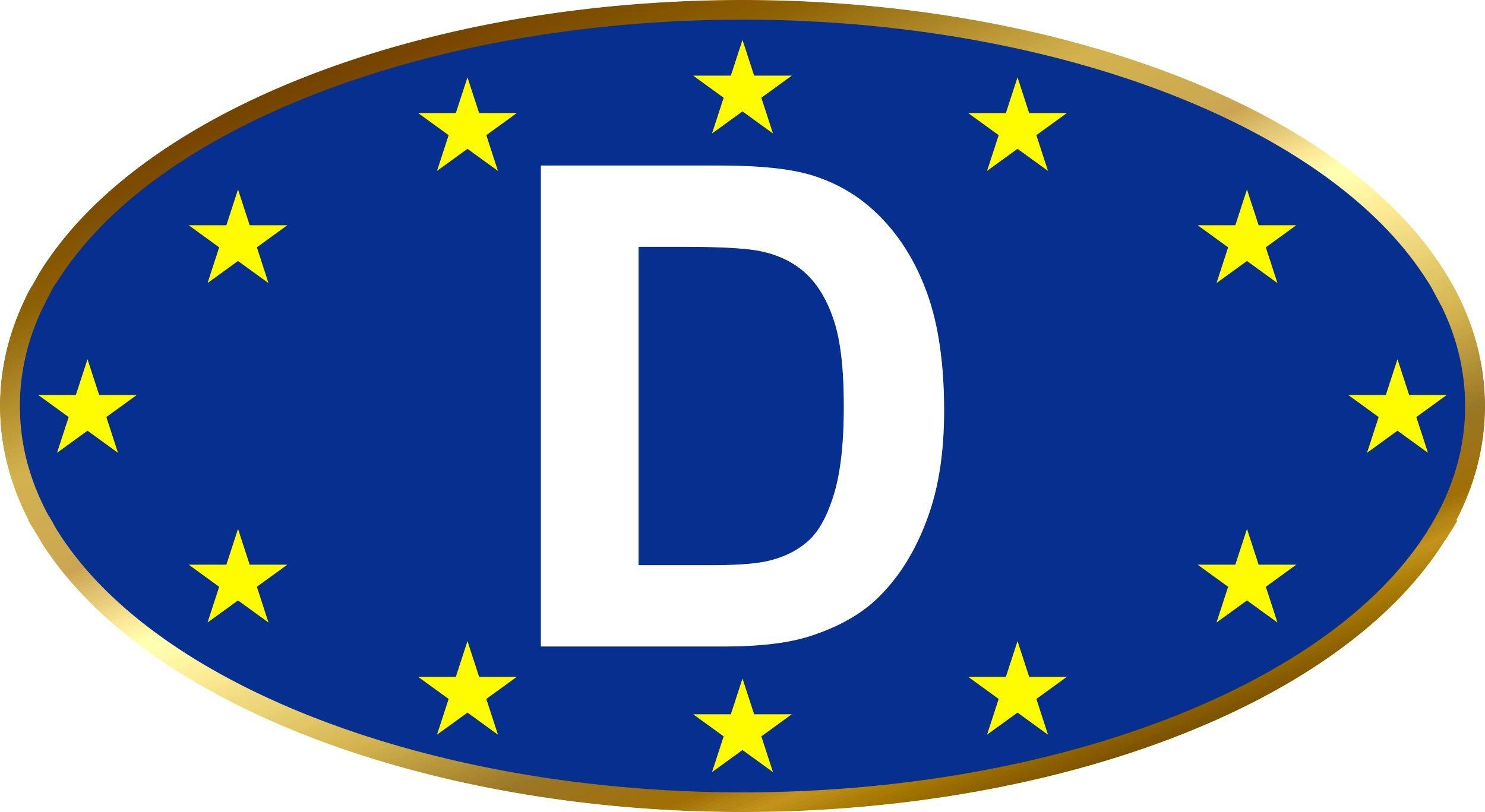 Aufkleber Europa-D Dimension 40 x 75 mm Deutschland Fanartikel  – Bild 1