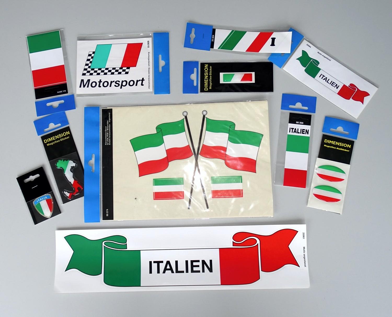 Aufkleber Flagge mit Schriftzug Italien 110 x 40 mm Fanartikel O – Bild 2