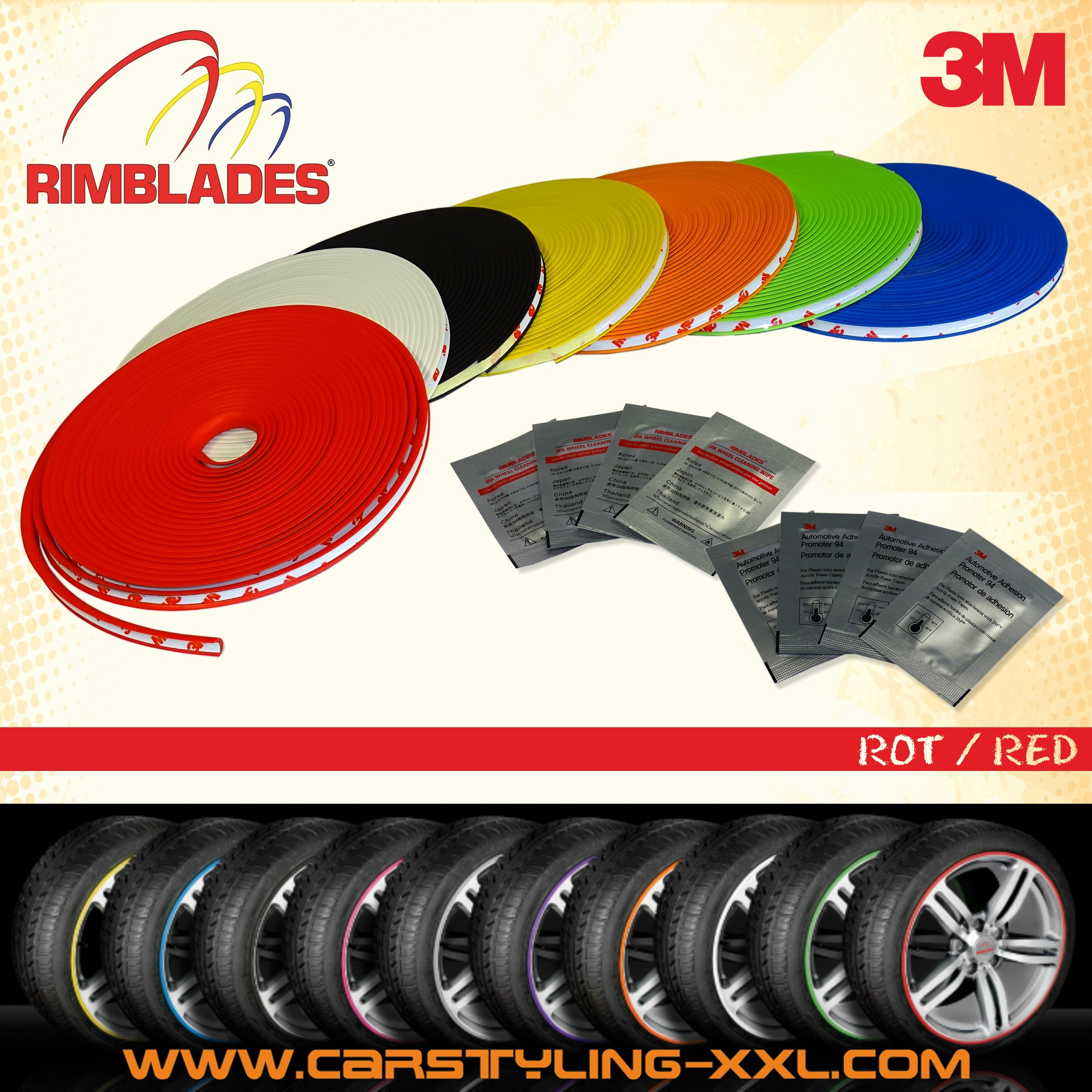 Rimblades with 3M glue - colour: red - Premium rim protection and styling for alloy wheel rims up to 22'' – Bild 1