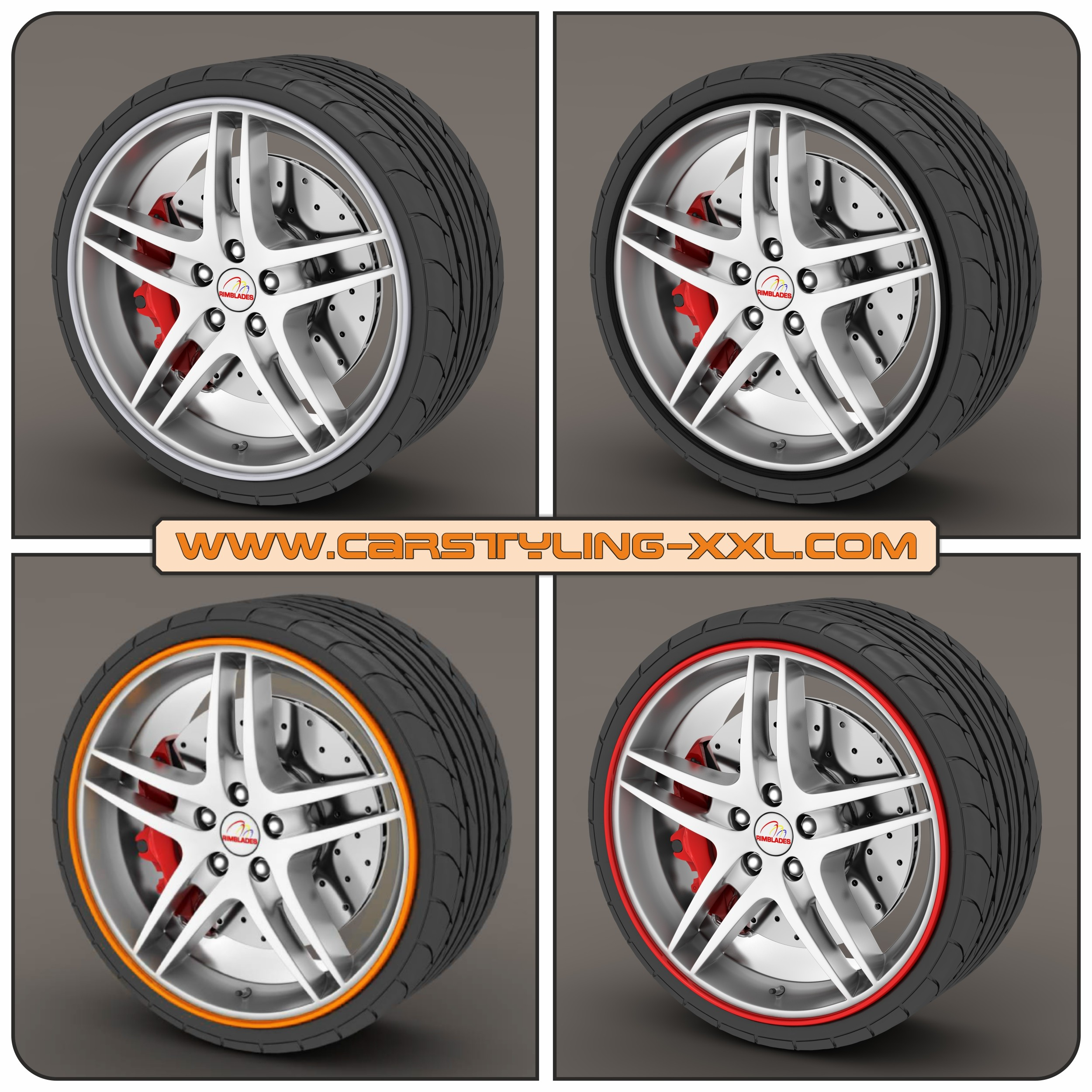 Rimblades with 3M glue - colour: red - Premium rim protection and styling for alloy wheel rims up to 22'' – Bild 3