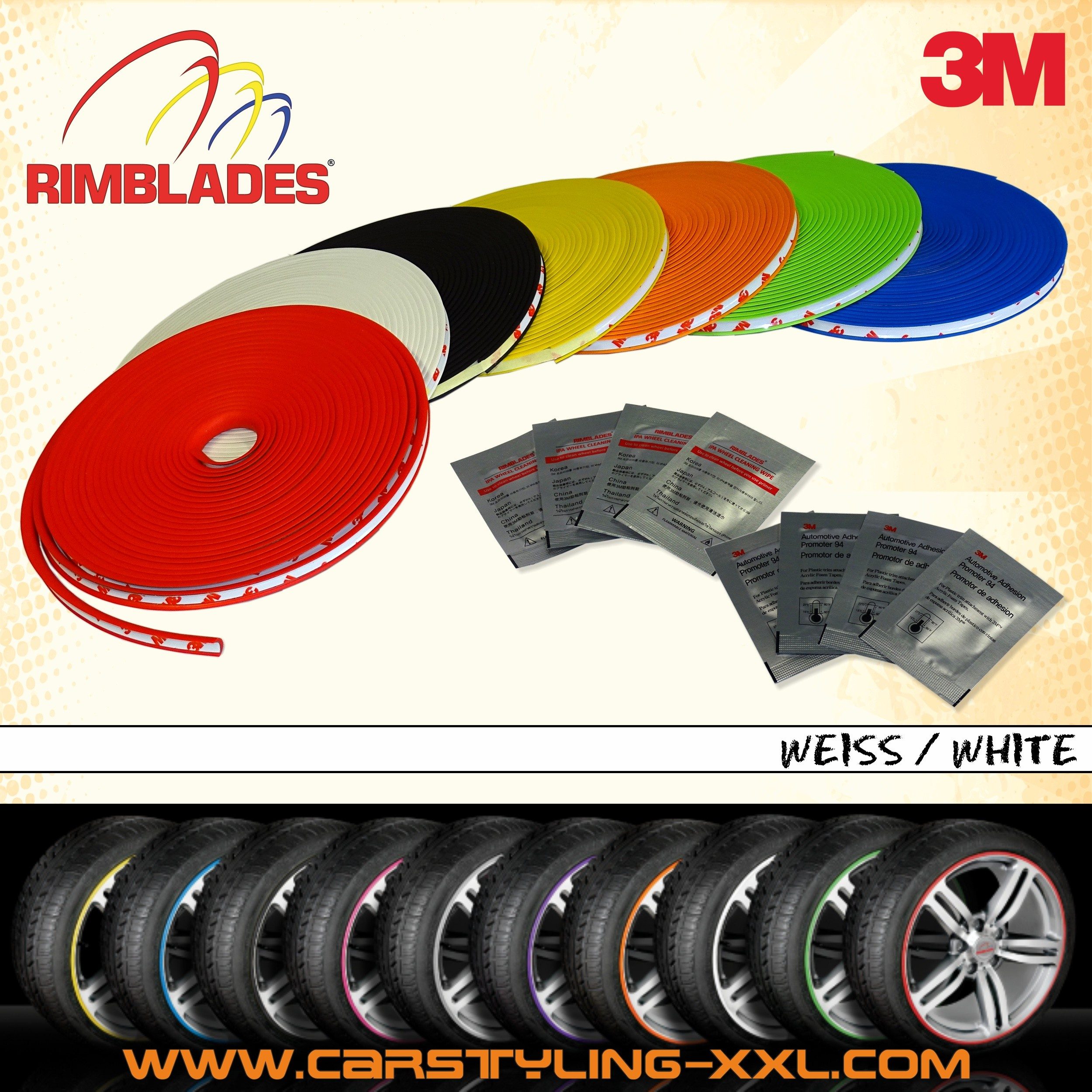 Rimblades with 3M glue - colour: white - Premium rim protection and styling for alloy wheel rims up to 22'' – Bild 1