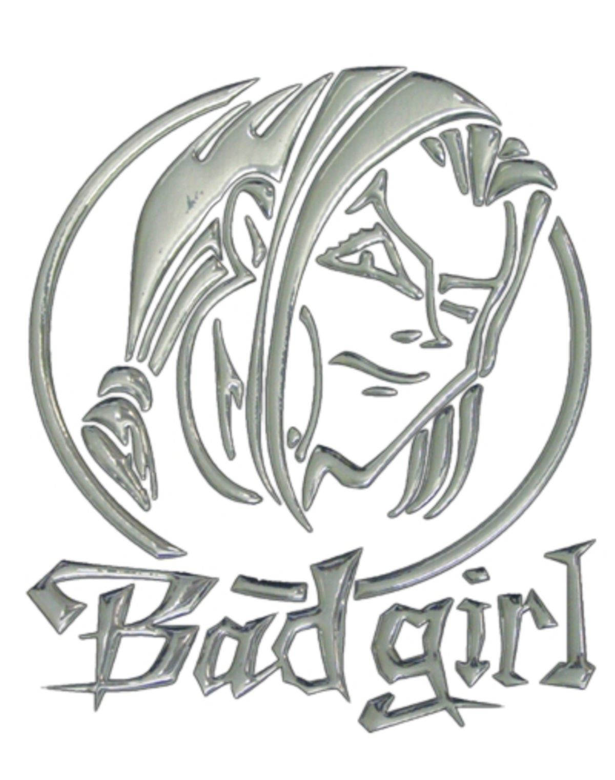 3D-Chrome-Sticker bad girl 200 x 165 mm – Bild 1