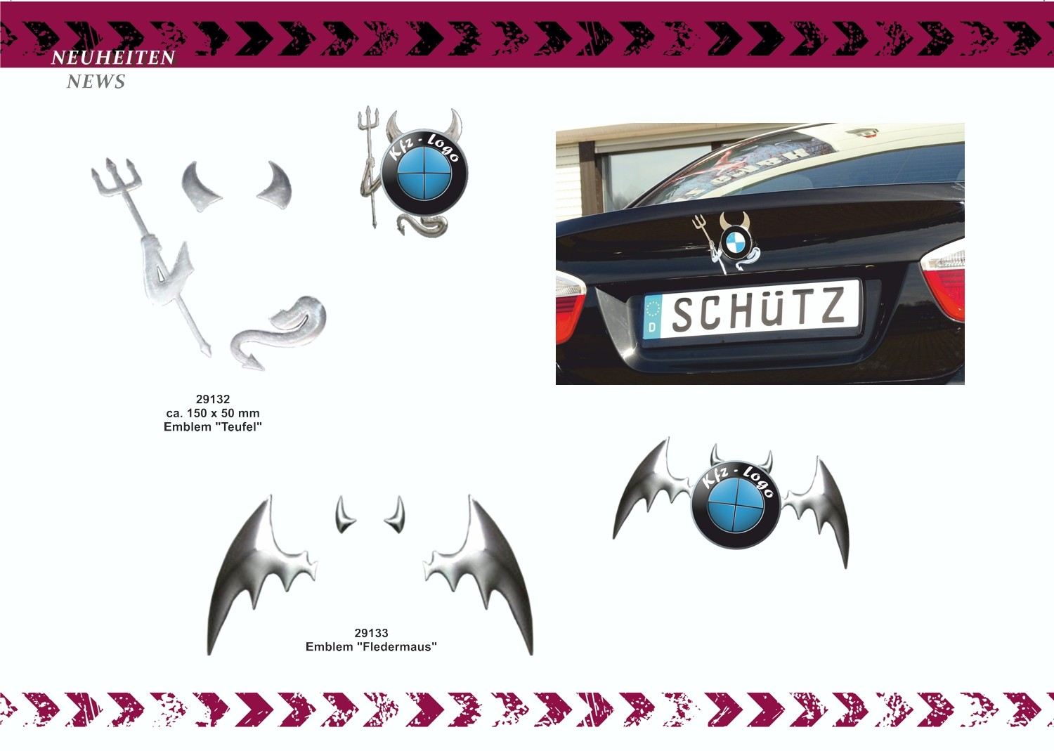 Sticker 3D-chrome dimension bat silver 80 x 95 mm – Bild 4