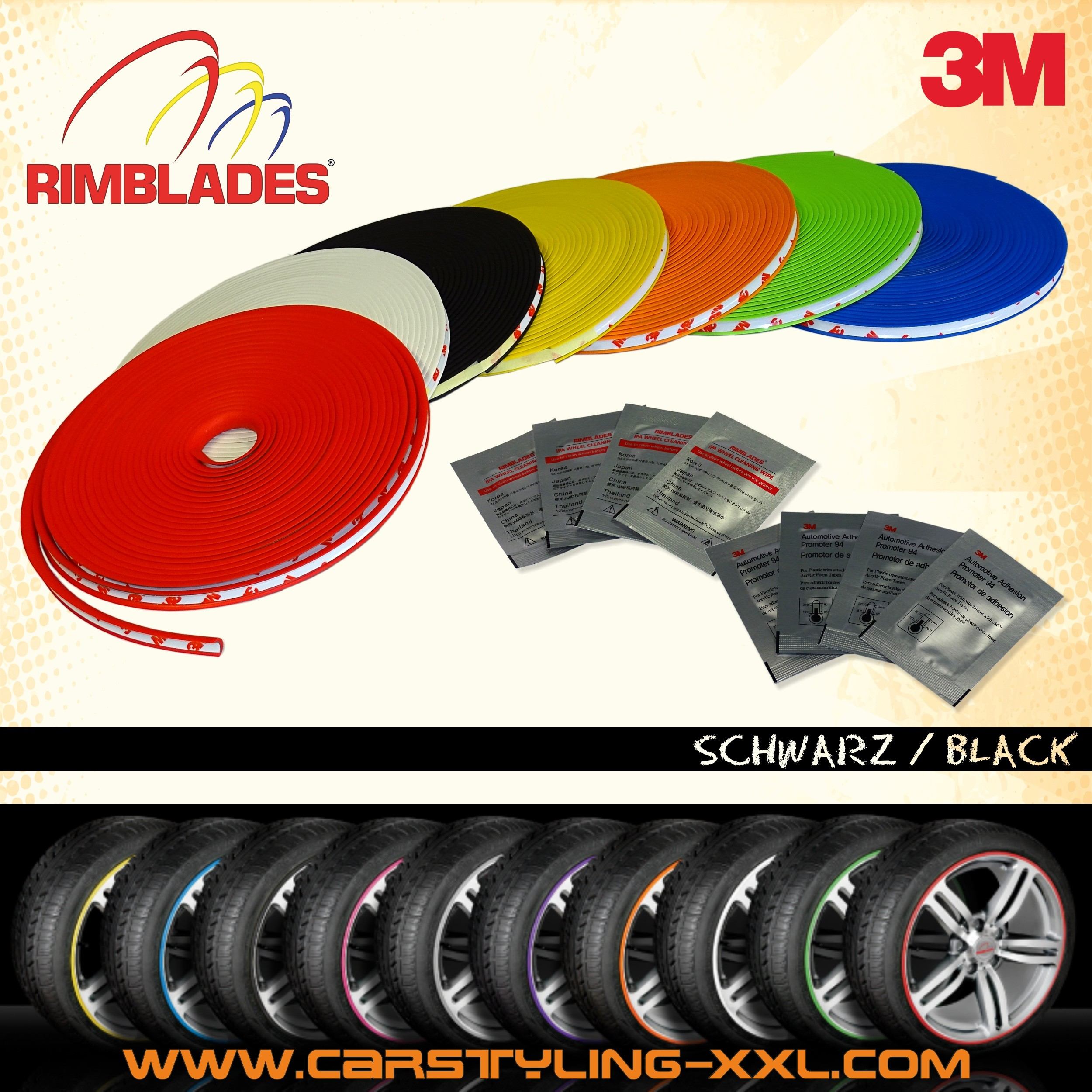 NEW - Rimblades with 3M glue - Singlepack - colour: black - Premium rim protection and styling for alloy wheel rims up to 22'' – Bild 1