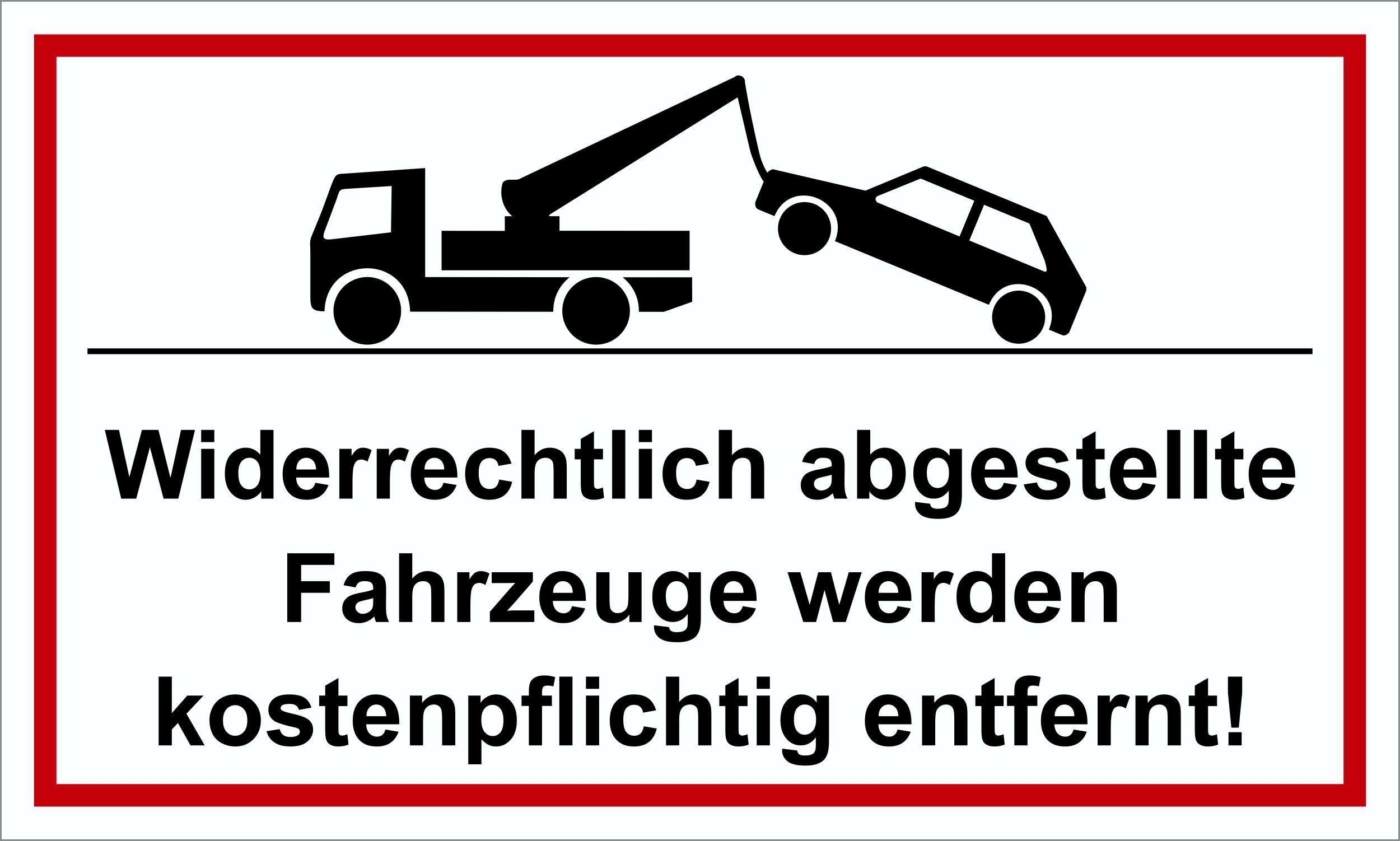 Widerrechtlich abgestellte Fahrzeuge werden kostenpflichtig entfernt! 150 x 250 mm Warn- Hinweis- und Verbotsschild PST-Kunststoff – Bild 1