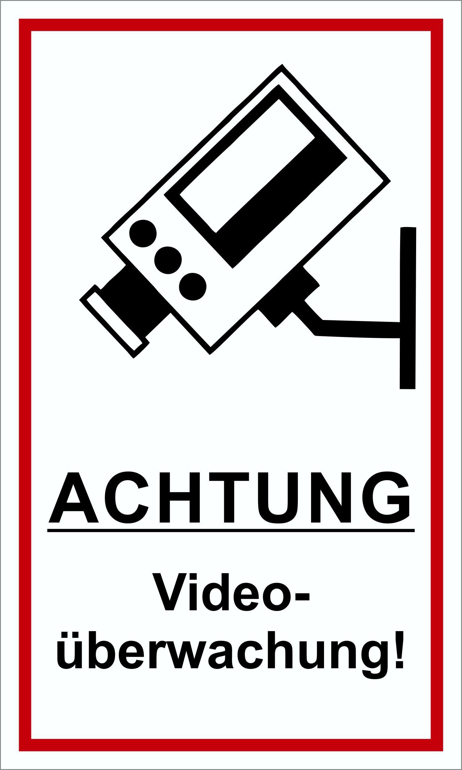 Achtung Videoüberwachung! 250 x 150 mm Schild PST-Kunststoff  – Bild 1