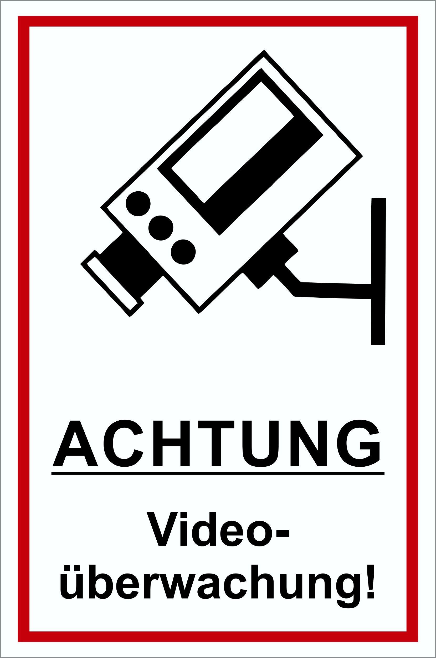 Achtung Videoüberwachung! 300 x 200 mm Warn- Hinweis- und Verbotsschild PST-Kunststoff – Bild 1