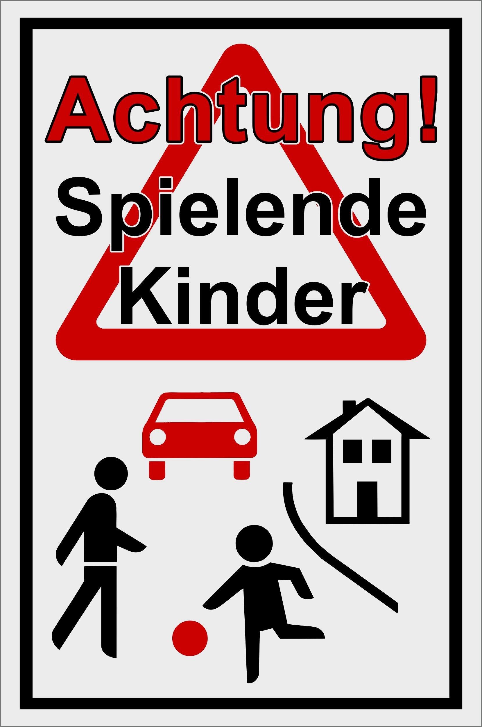 Achtung Spielende Kinder! 300 x 200 mm Warn- Hinweis- und Verbotsschild PST-Kunststoff 001
