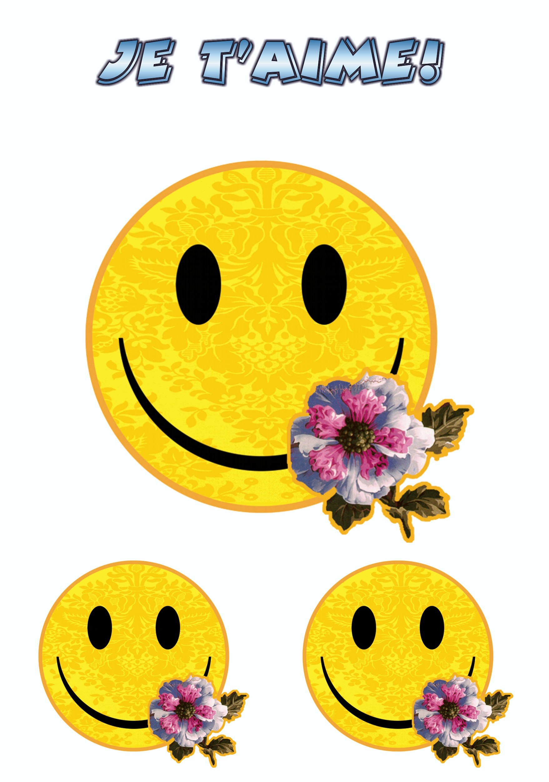 Sticker Smily Je t´aime! set of 3 150 x 105 mm