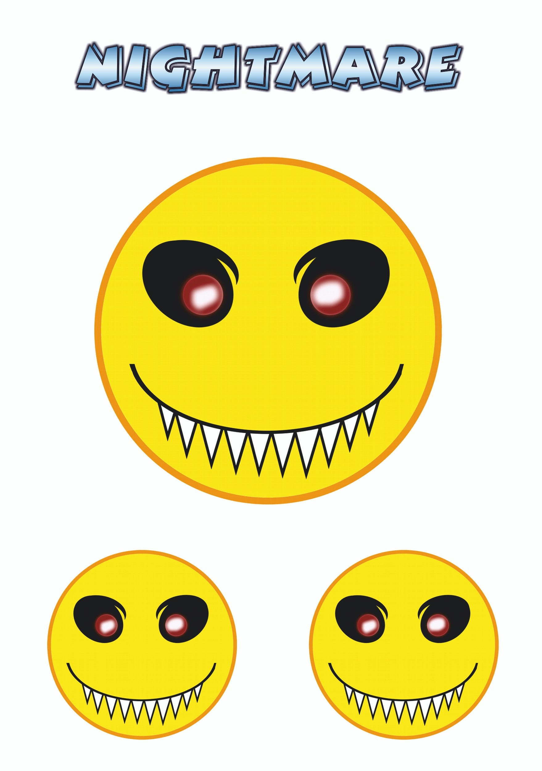 Sticker Smily Nightmare set of 3 150 x 105 mm