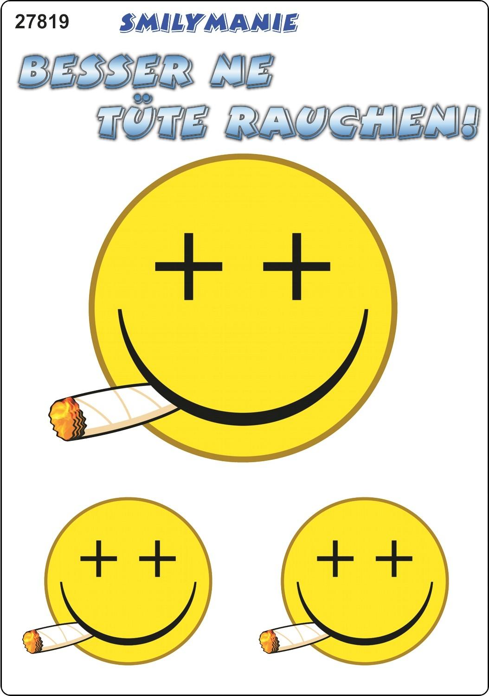 Aufkleber Smily Besser ne Tüte rauchen! 3er-Set 150 x 105 mm – Bild 1