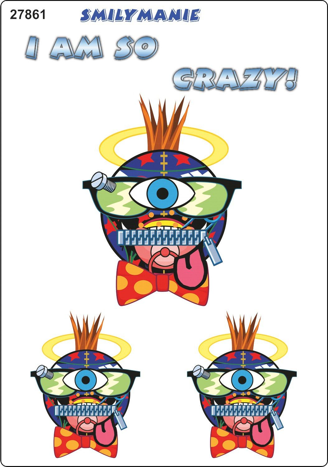 Sticker Smily I am so crazy! set of 3 150 x 105 mm