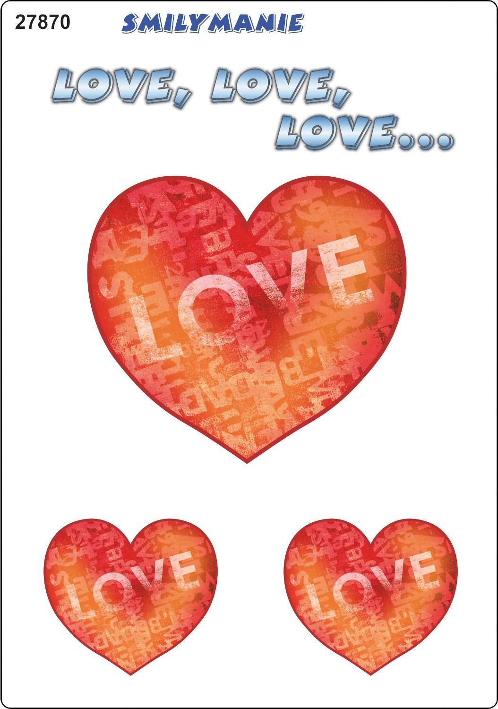 Aufkleber Herz love love love ... 3er-Set 150 x 105 mm