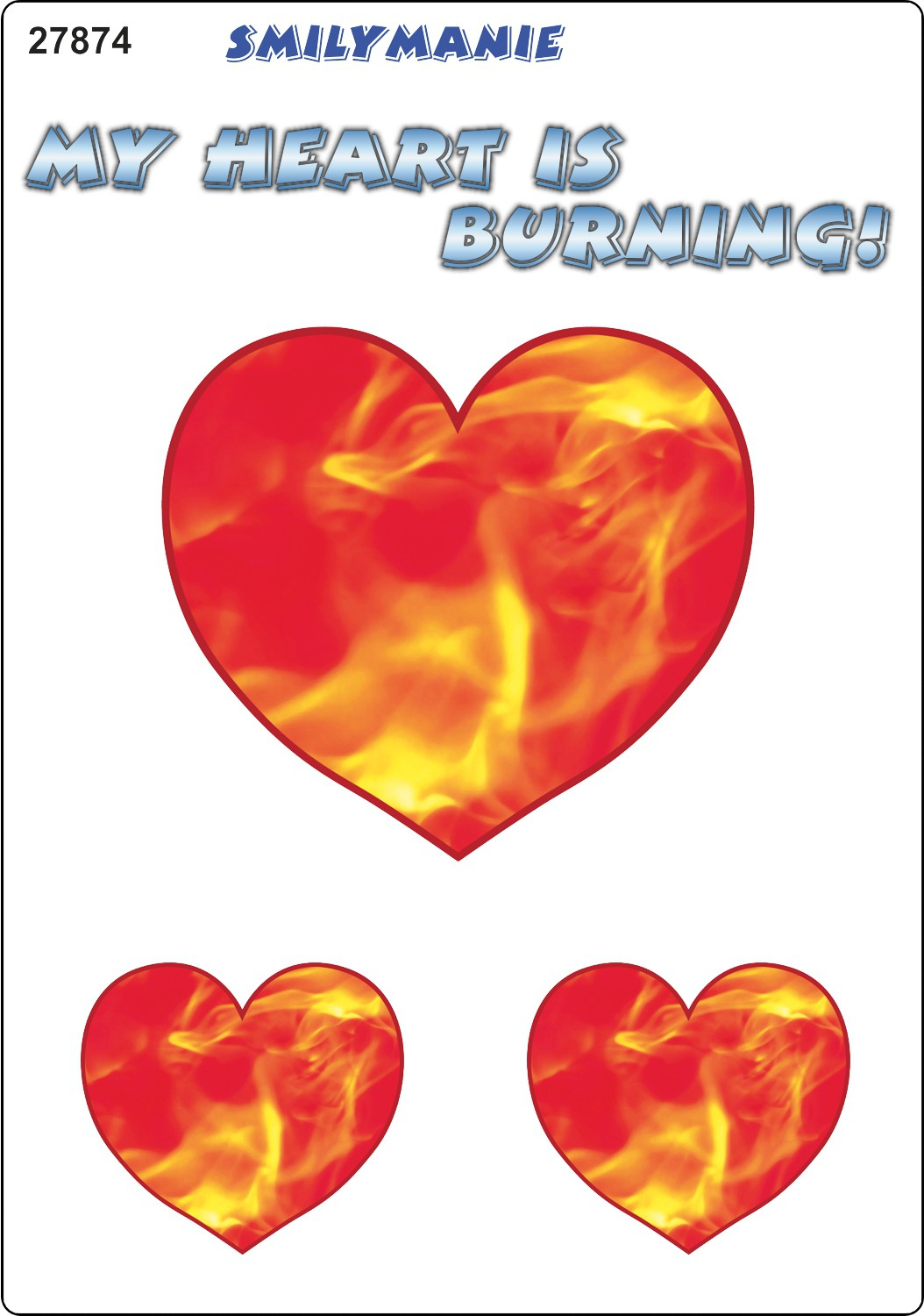Sticker heart My heart is burning! set of 3 150 x 105 mm