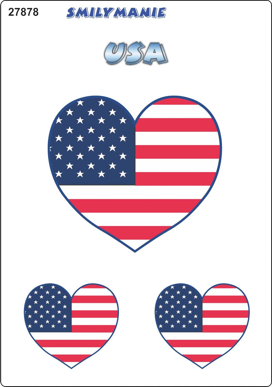 Aufkleber Herz USA 3er-Set 150 x 105 mm