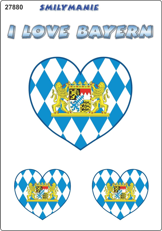 Aufkleber Herz I love Bayern 3er-Set 150 x 105 mm