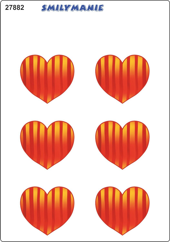 Aufkleber Herz gestreift 6er-Set 150 x 105 mm