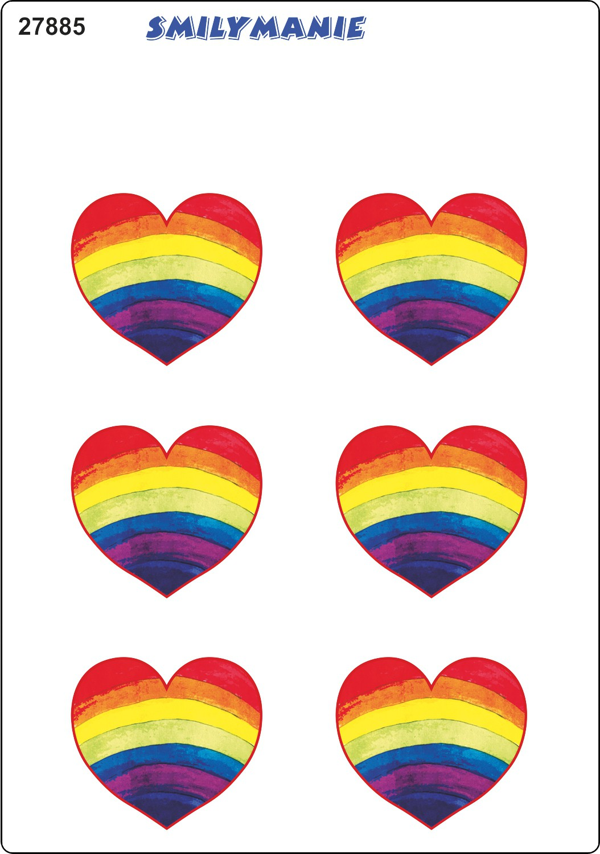 Aufkleber Herz Regenbogen 6er-Set 150 x 105 mm