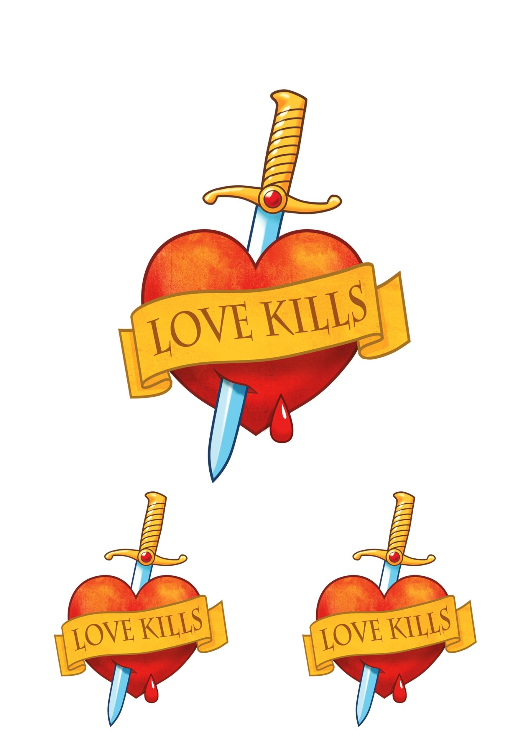 Aufkleber Herz Love Kills 3er-Set 150 x 105 mm – Bild 1