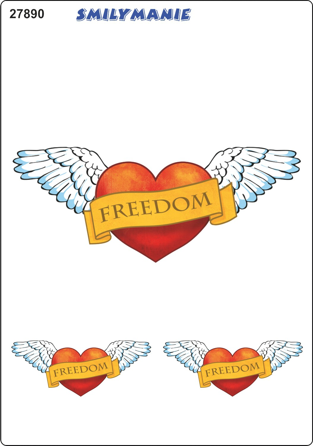 Sticker heart Freedom set of 3 150 x 105 mm