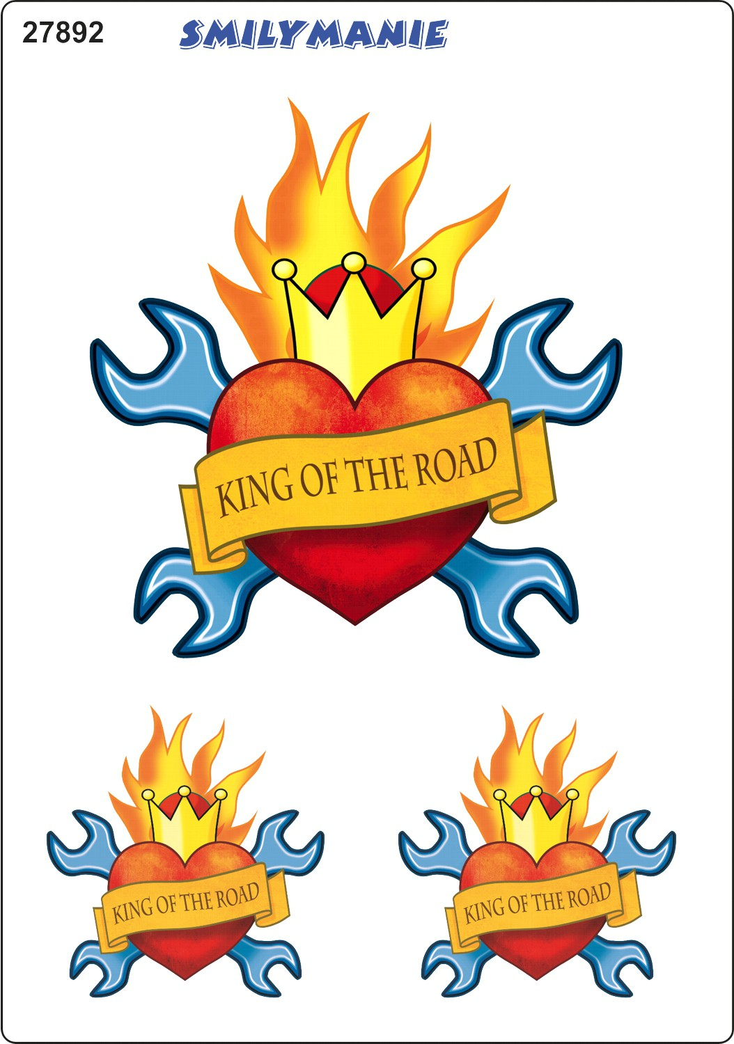 Sticker heart King of the road set of 3 150 x 105 mm