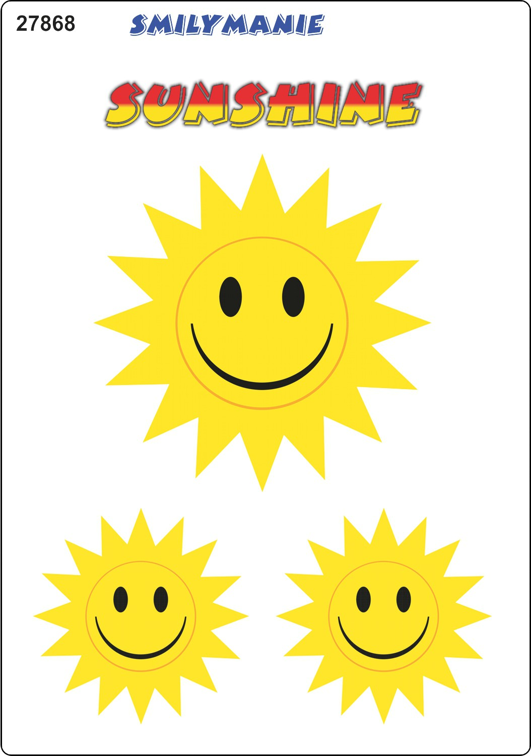 Sticker Smily Sunshine set of 3 150 x 105 mm