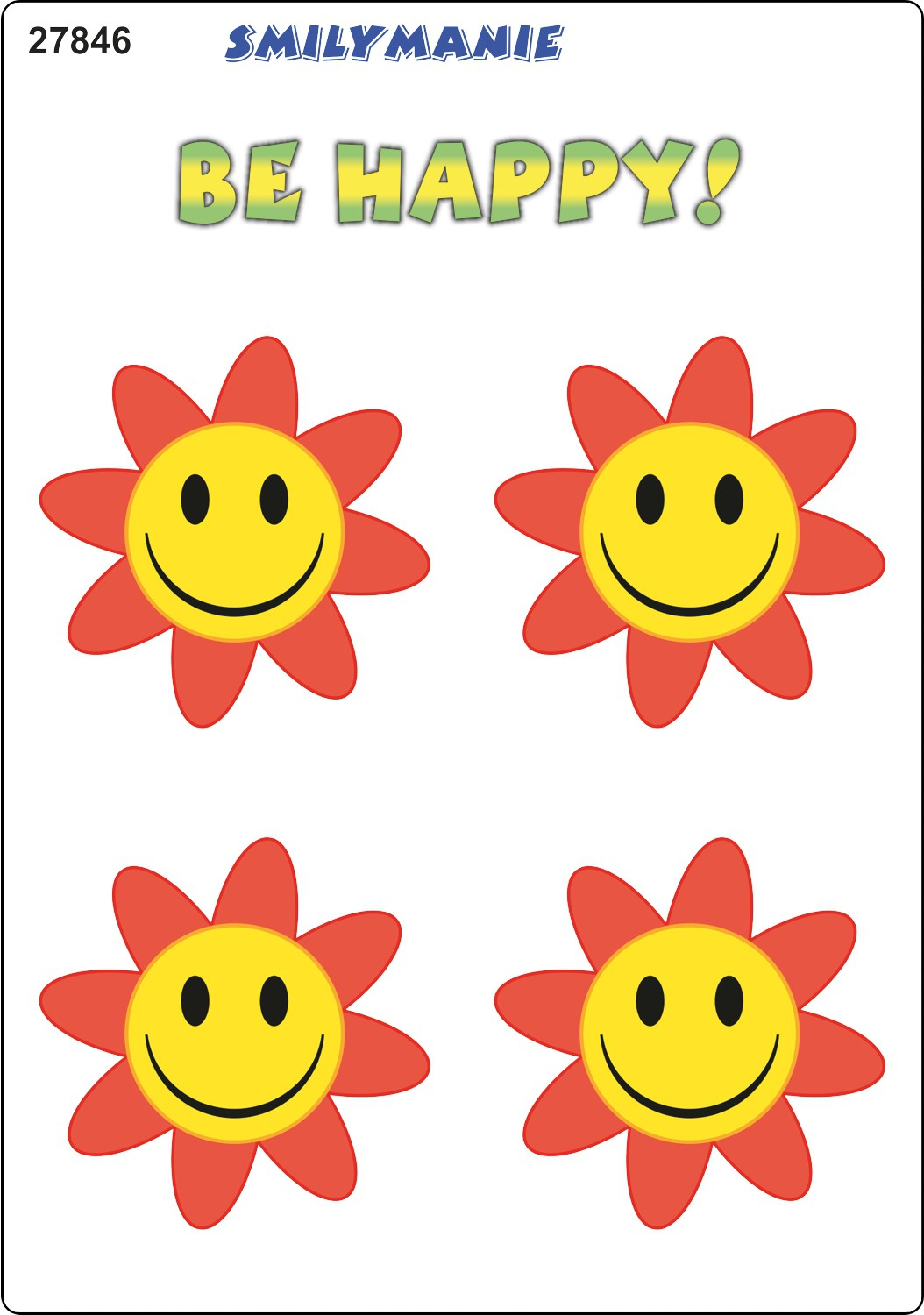 Sticker Smily Be Happy! set of 4 150 x 105 mm