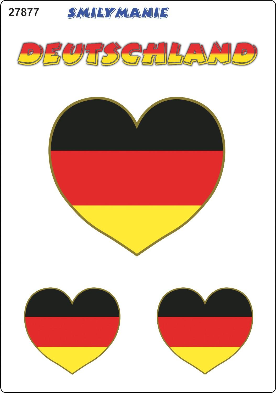 Aufkleber Herz Deutschland 3er-Set 150 x 105 mm