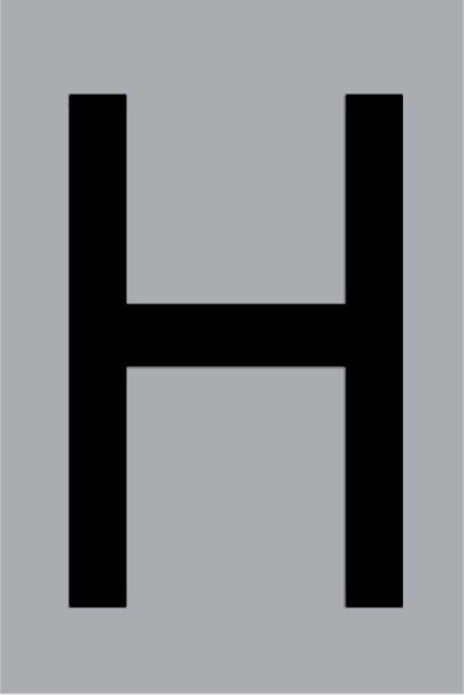 Metallbuchstabe H selbstklebend 100 x 60 mm – Bild 1