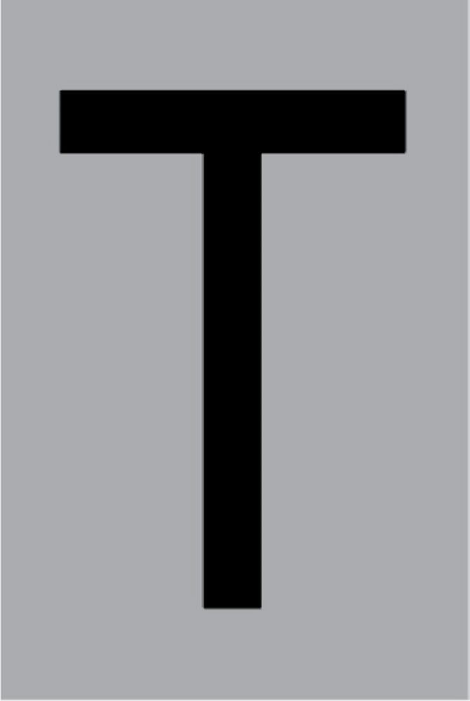 Metallbuchstabe T selbstklebend 100 x 60 mm – Bild 1