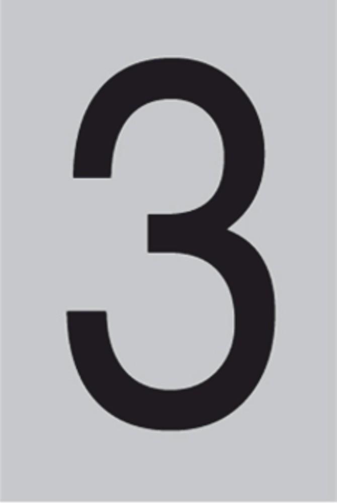 Metallziffer 3 selbstklebend 100 x 60 mm – Bild 1