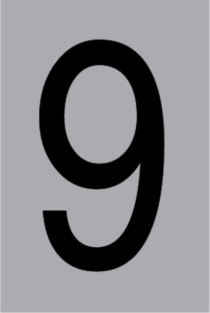 Metallziffer 9 selbstklebend 100 x 60 mm – Bild 1