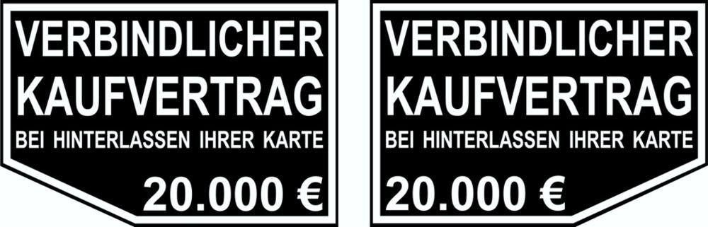 Aufkleber Verbindlicher Kaufvertrag ... 2er-Set rechts/links je 65 x 70 mm – Bild 1