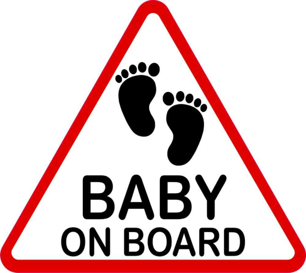 Aufkleber Baby on Board dreieckig 115 x 130 mm 001