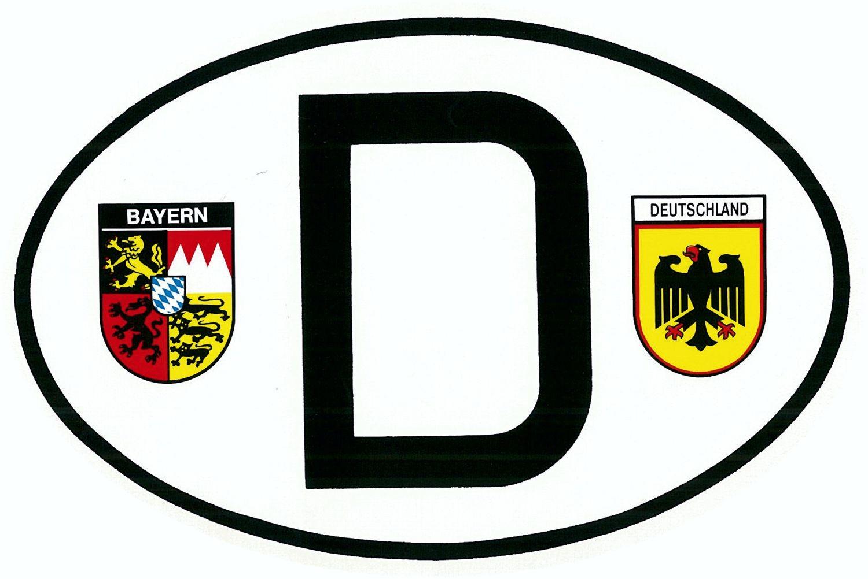 Aufkleber D mit Wappen Bayern und Deutschland 110 x 165 mm – Bild 1