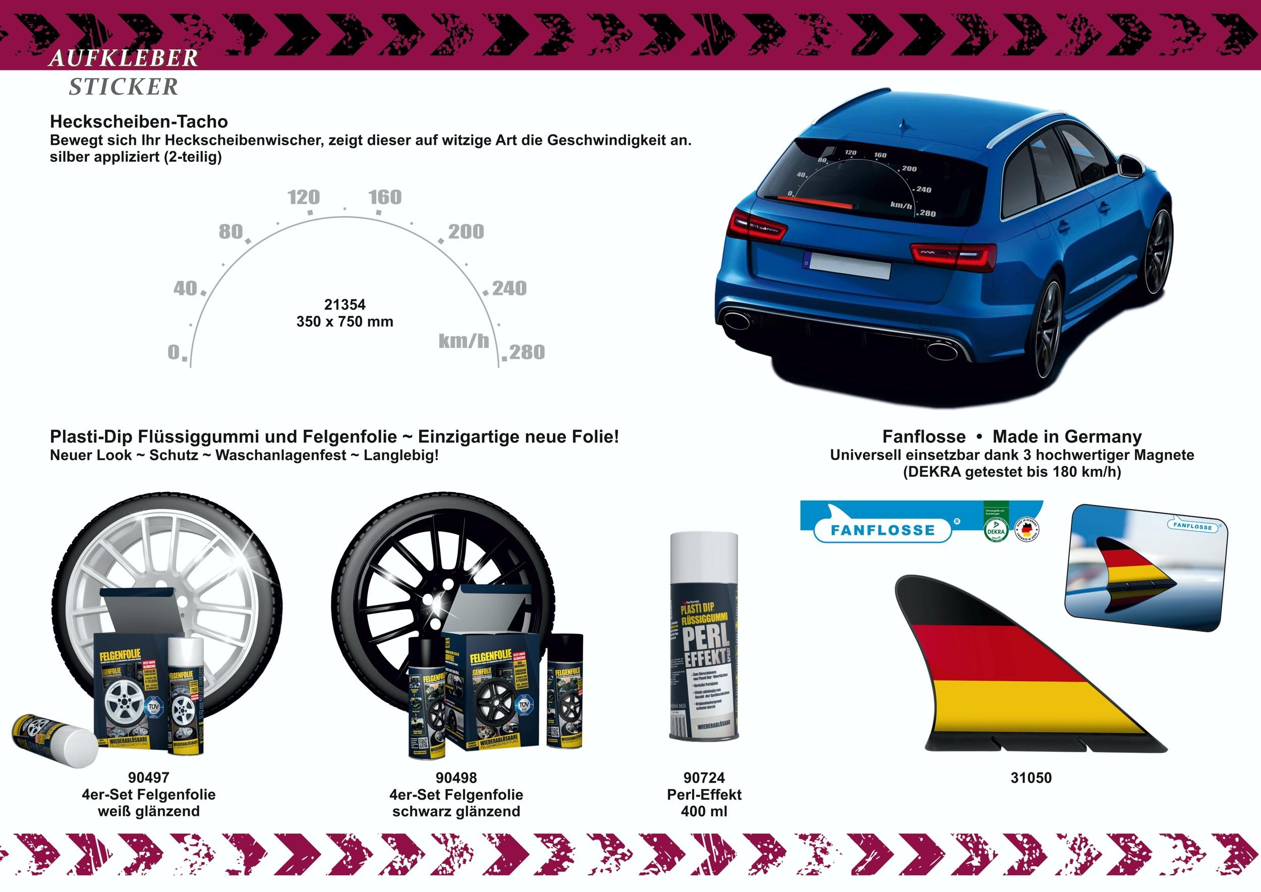 Scheibenwischer Aufkleber-Set 2 Stück je 410 mm Länge race-look – Bild 4