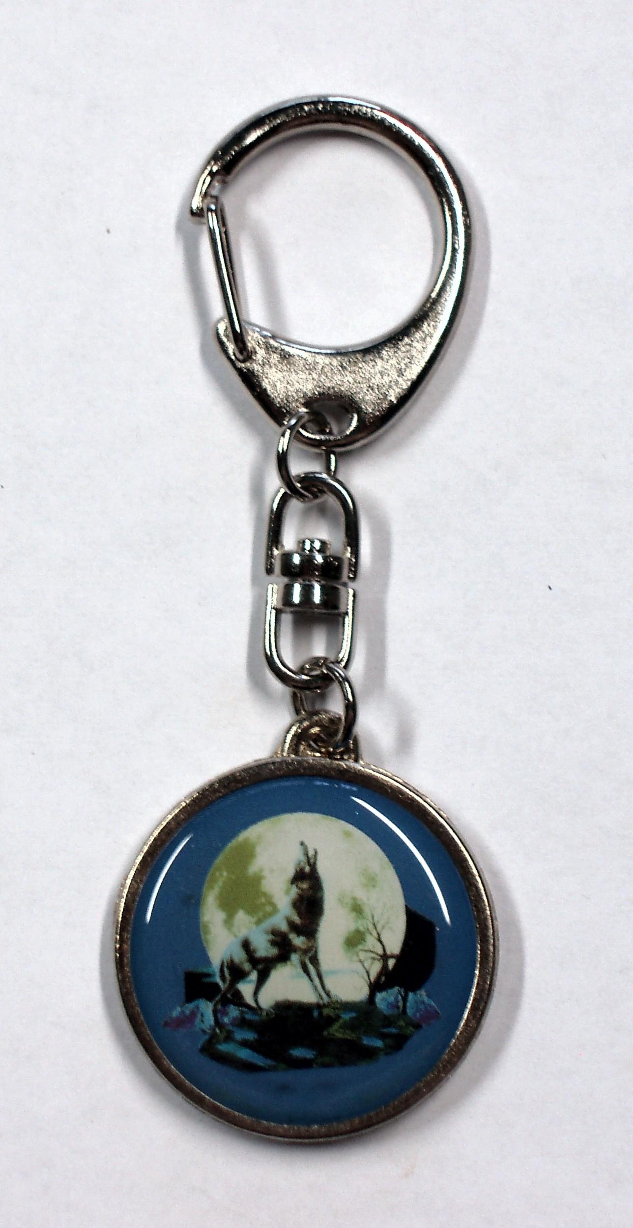 Schlüsselanhänger Metall Wolf 95 x 35 mm Motiv beidseitig – Bild 1