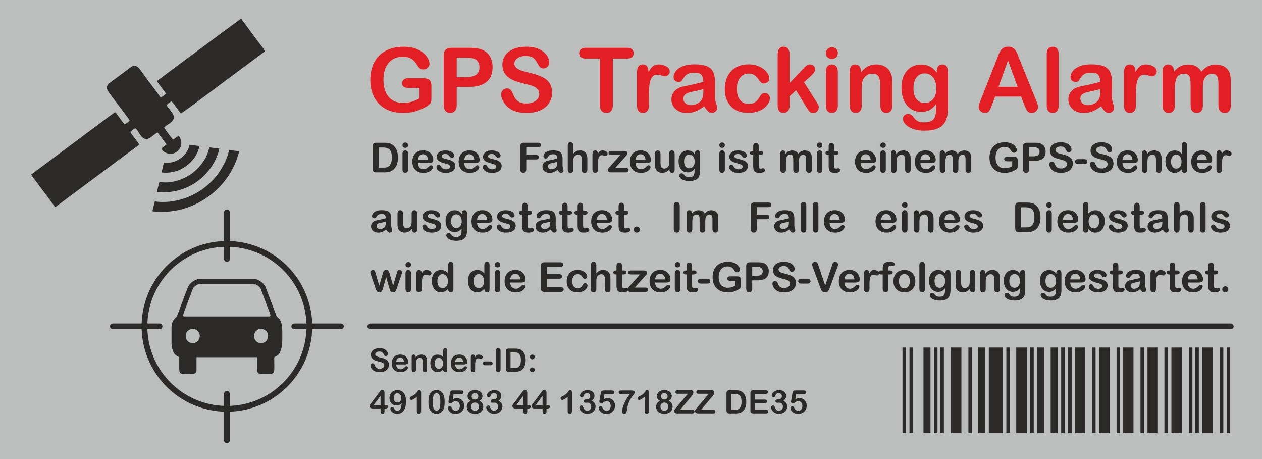 Sticker GPS Tracking Alarm 120 x 40 mm – Bild 1