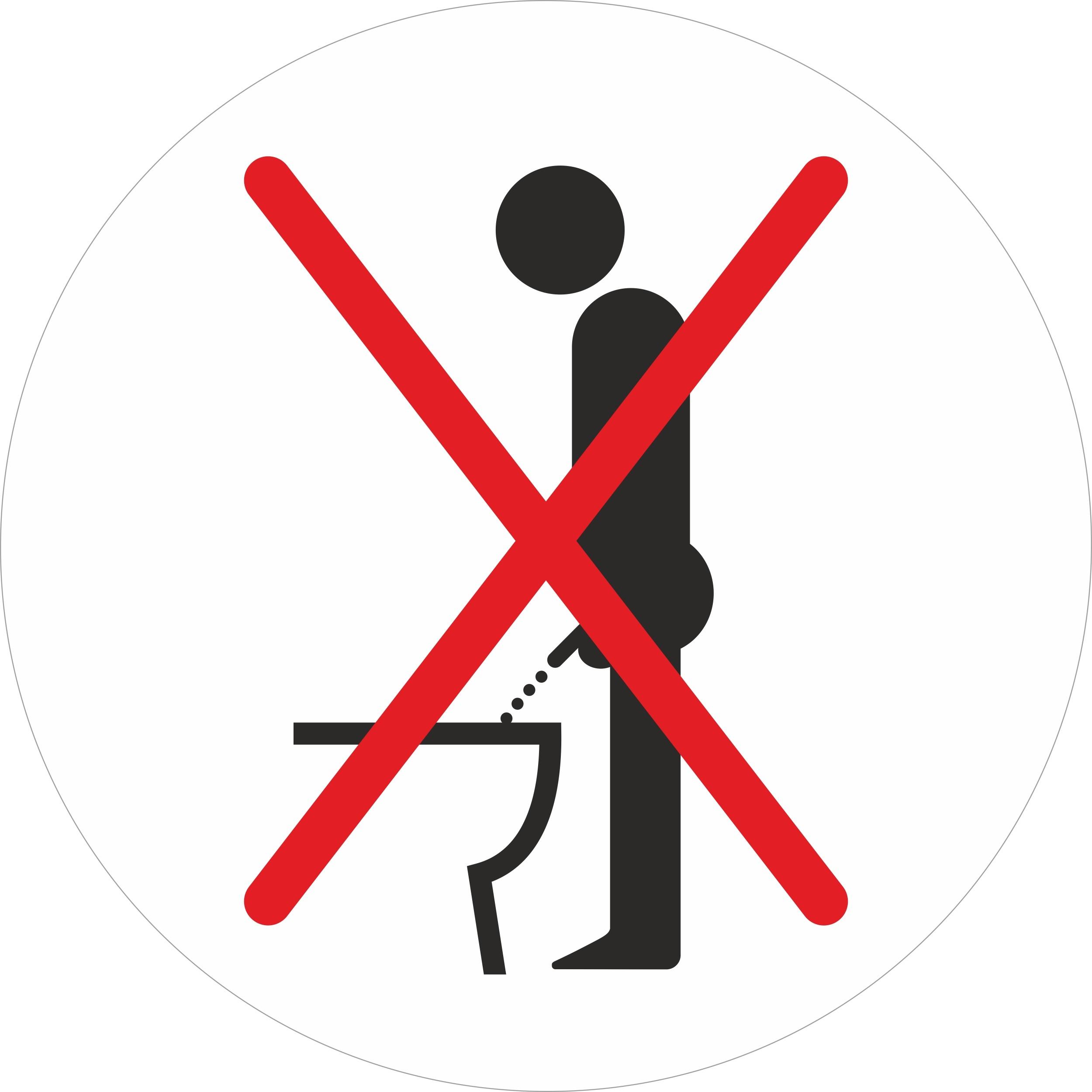 Aufkleber Bitte nicht im Stehen pinkeln Ø 80 mm – Bild 1