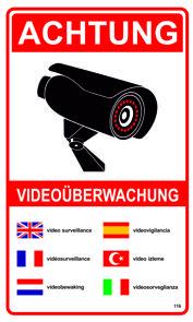 Achtung Videoüberwachung 250 x 150 mm Warn- Hinweis- und Verbotsschild PST-Kunststoff 001