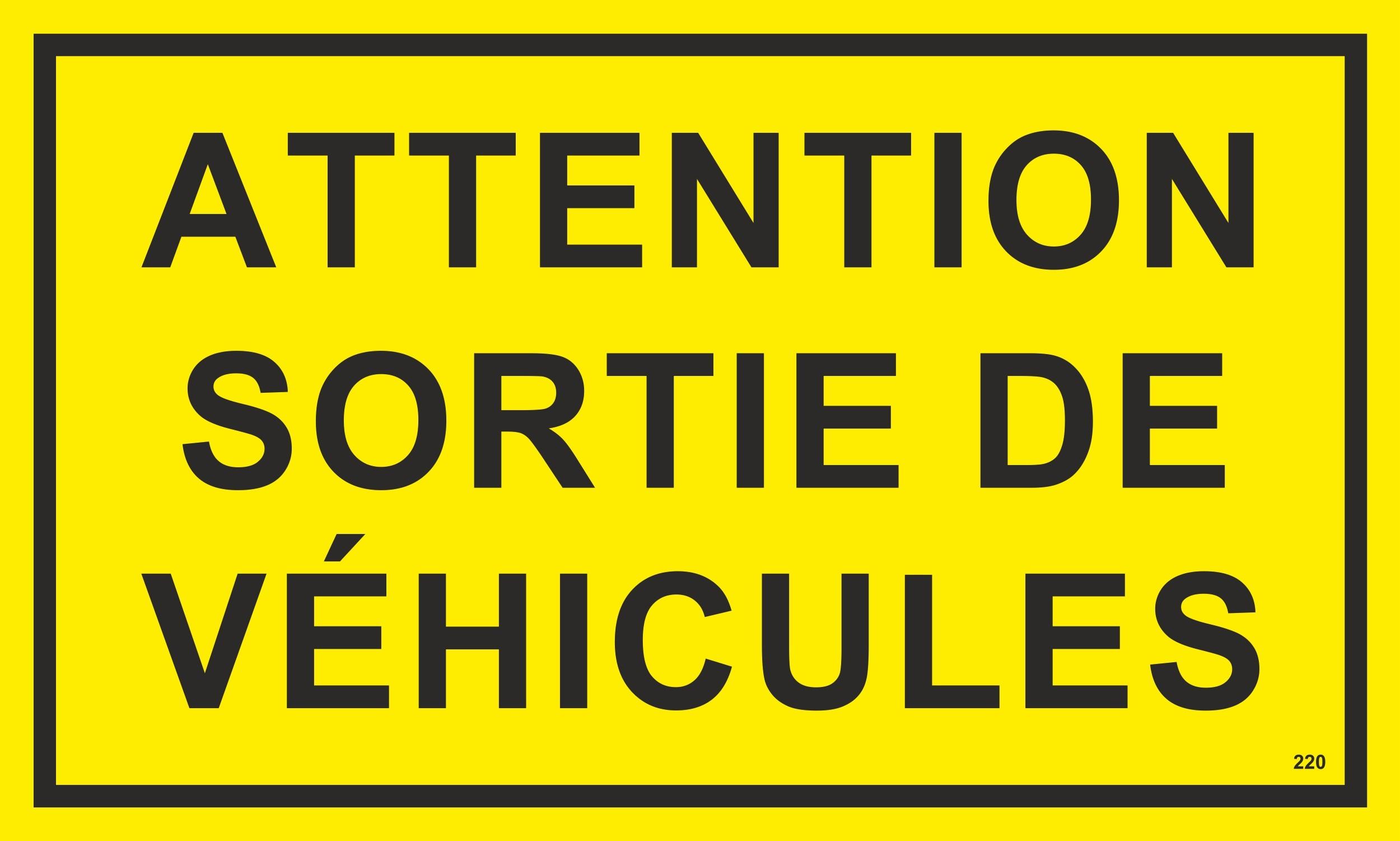 Attention sortie de véhicules 150 x 250 mm Warn- Hinweis- und Verbotsschild PST-Kunststoff – Bild 1