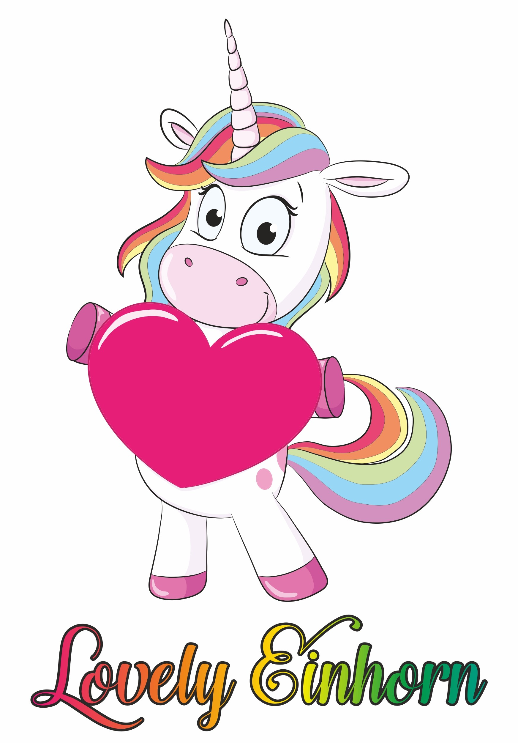 "Unicorn Sticker ""Lovely Einhorn"" 150 x 115 mm – Bild 1"