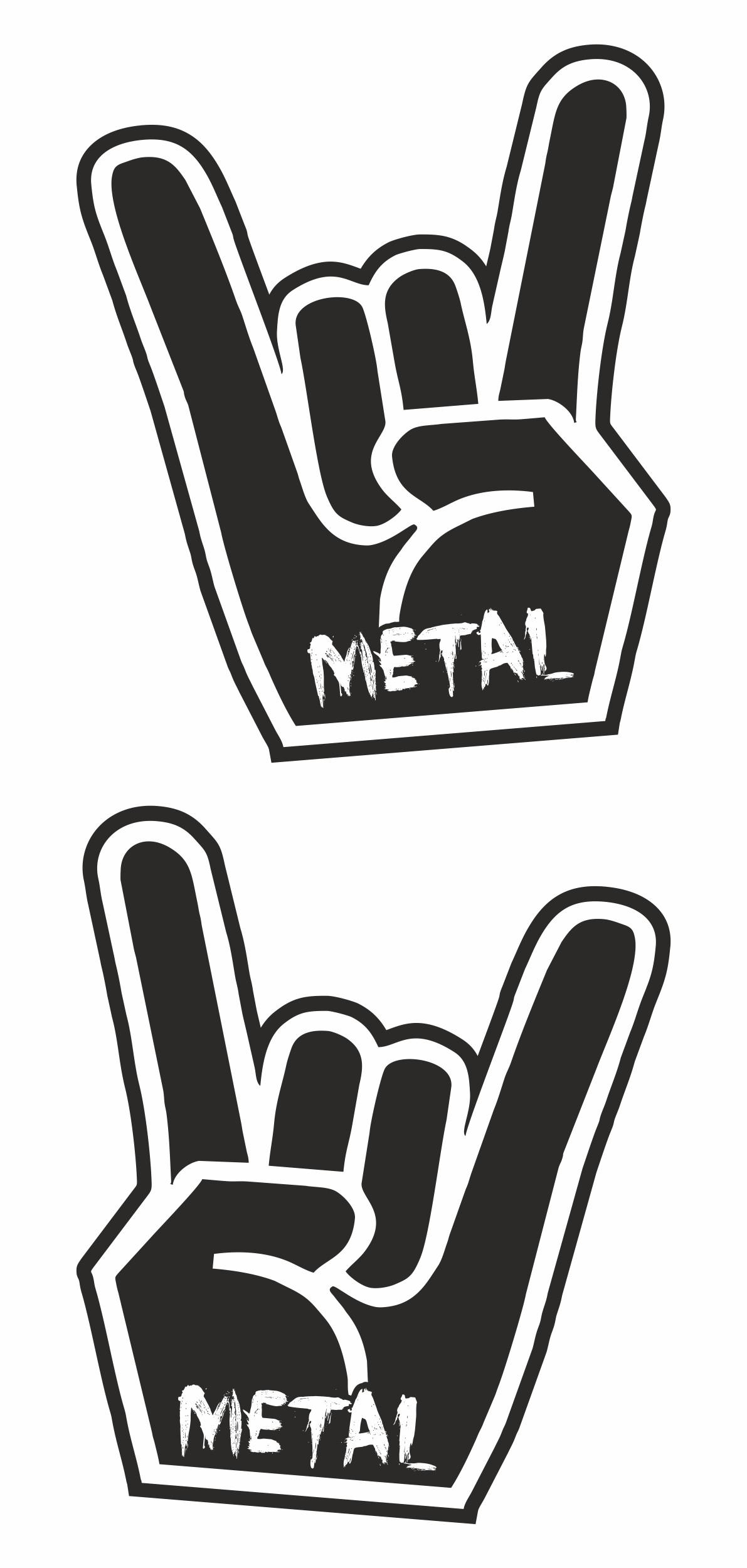Aufkleber Metal Hand 60 x 50 mm 2er-Set   – Bild 1